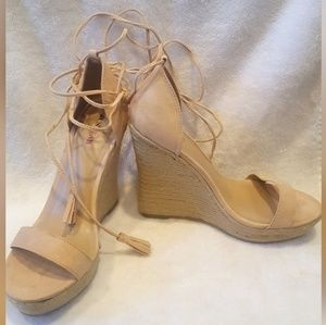 Brand New Nude Wedges w/ tie ankle detail - shoes